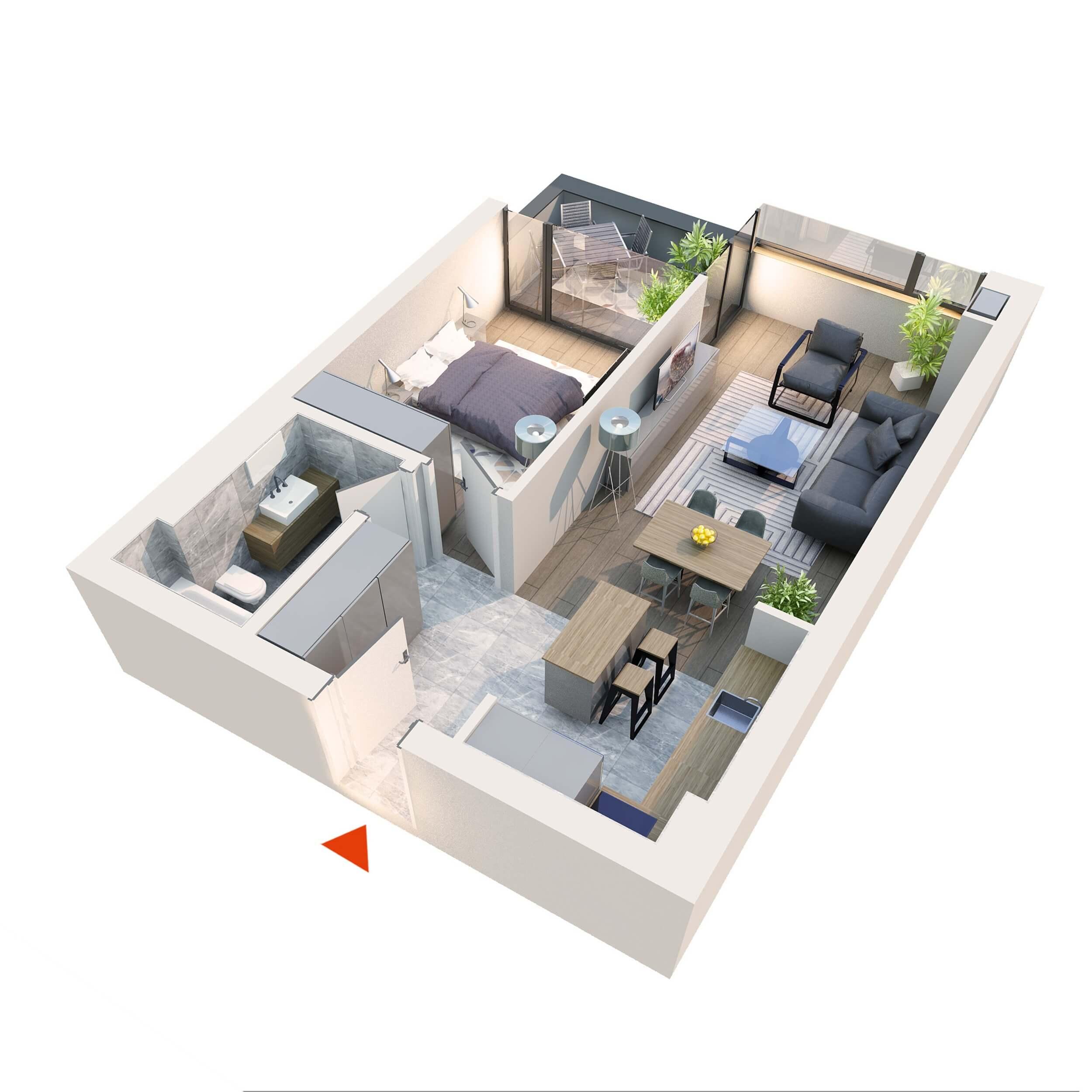 "Apartament 2 camere tip 2D1.1"" Logie | Etaj 1-3 | Corp C7 | Faza 2"
