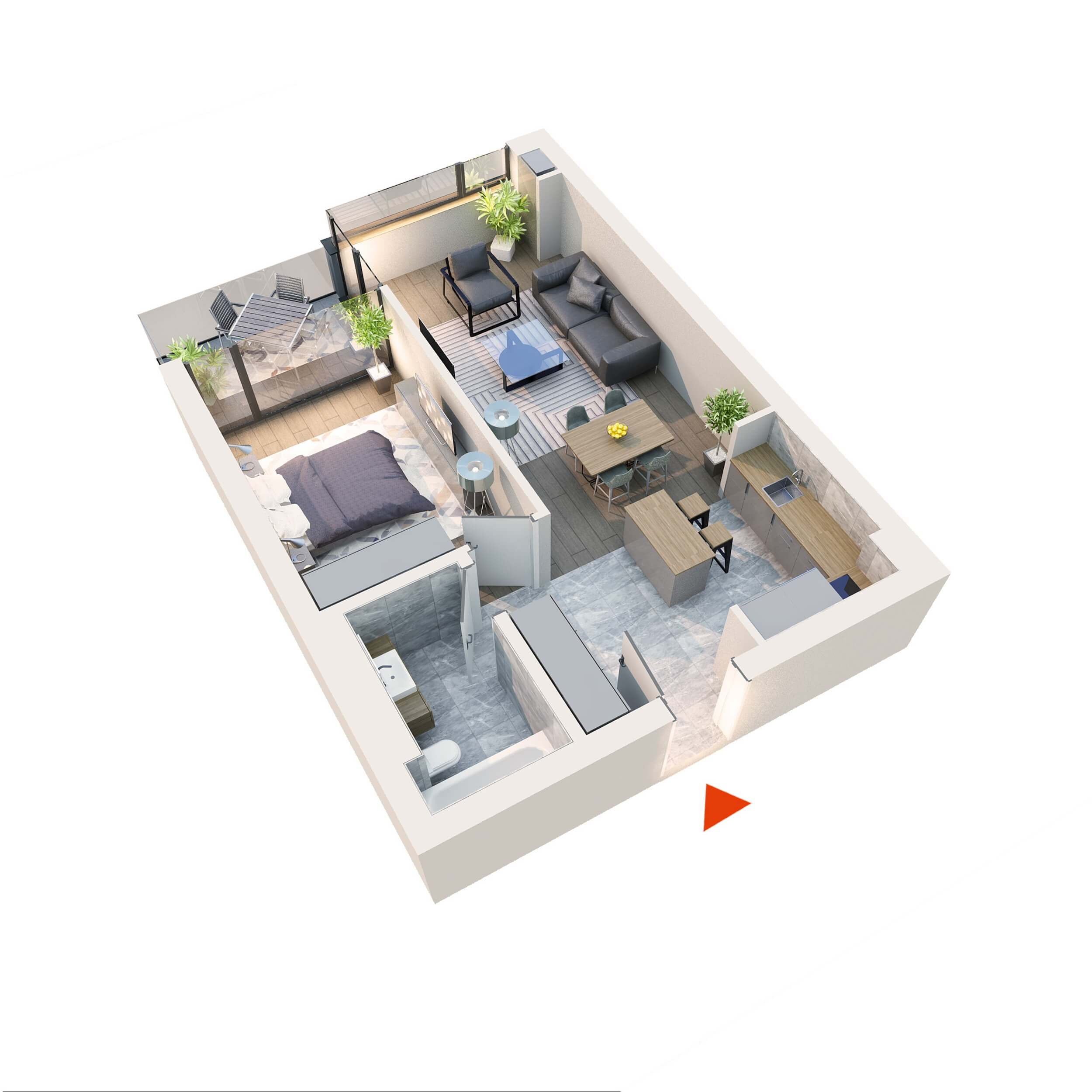 Apartament 2 camere tip 2D1.1 Logie | Etaj 1-5 | Corp C7 | Faza 2