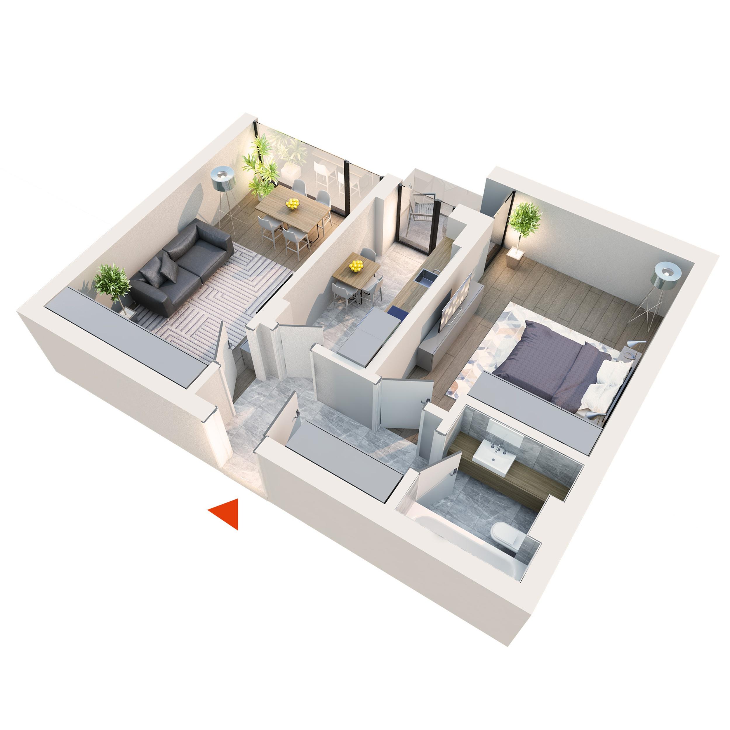 Apartament 2 camere tip 2B3 Balcon | Etaj 1-3 | Corp C1, C6 | Faza 2