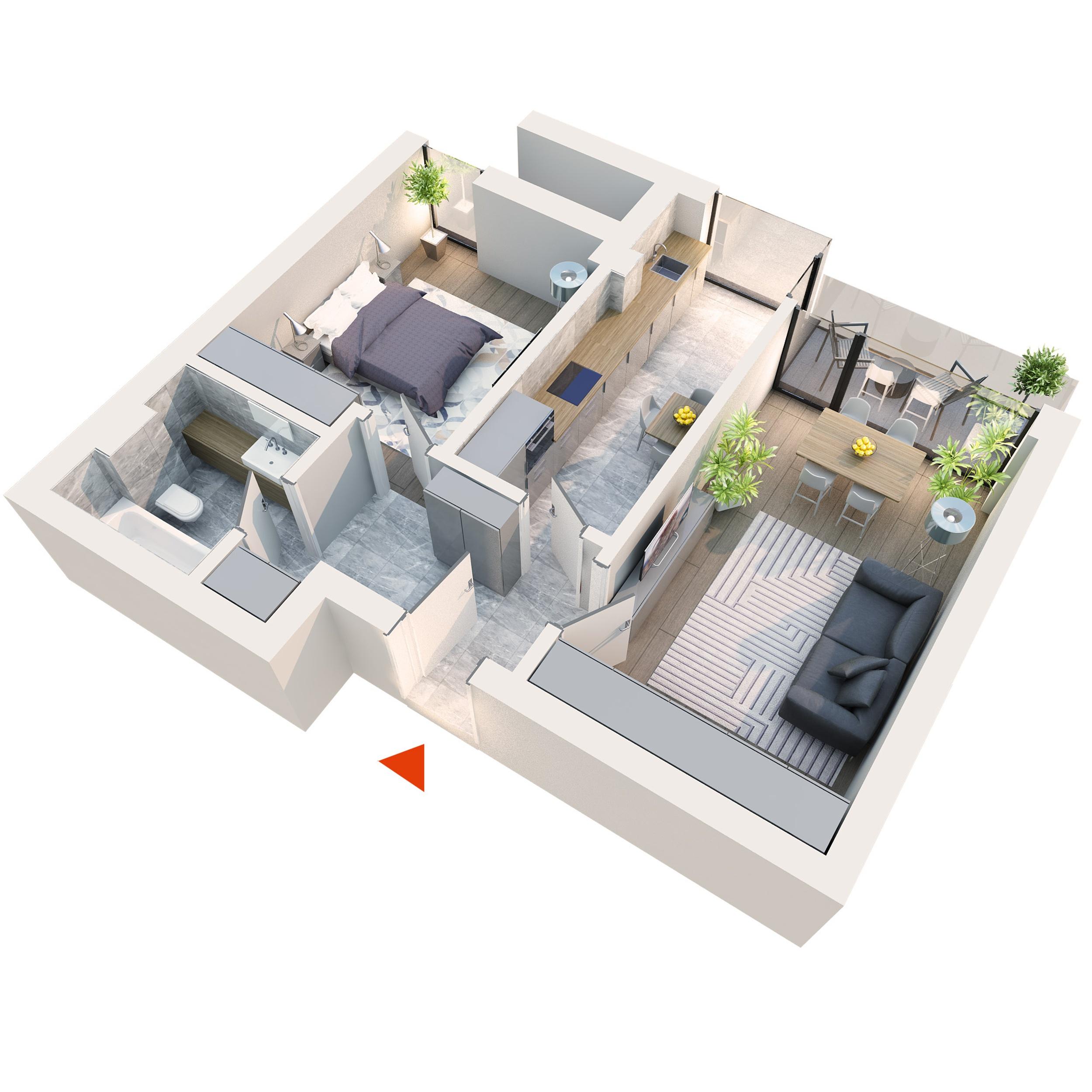 Apartament 2 camere tip 2B2 Logie | Etaj 1-3 | Corp C1, C6 | Faza 2