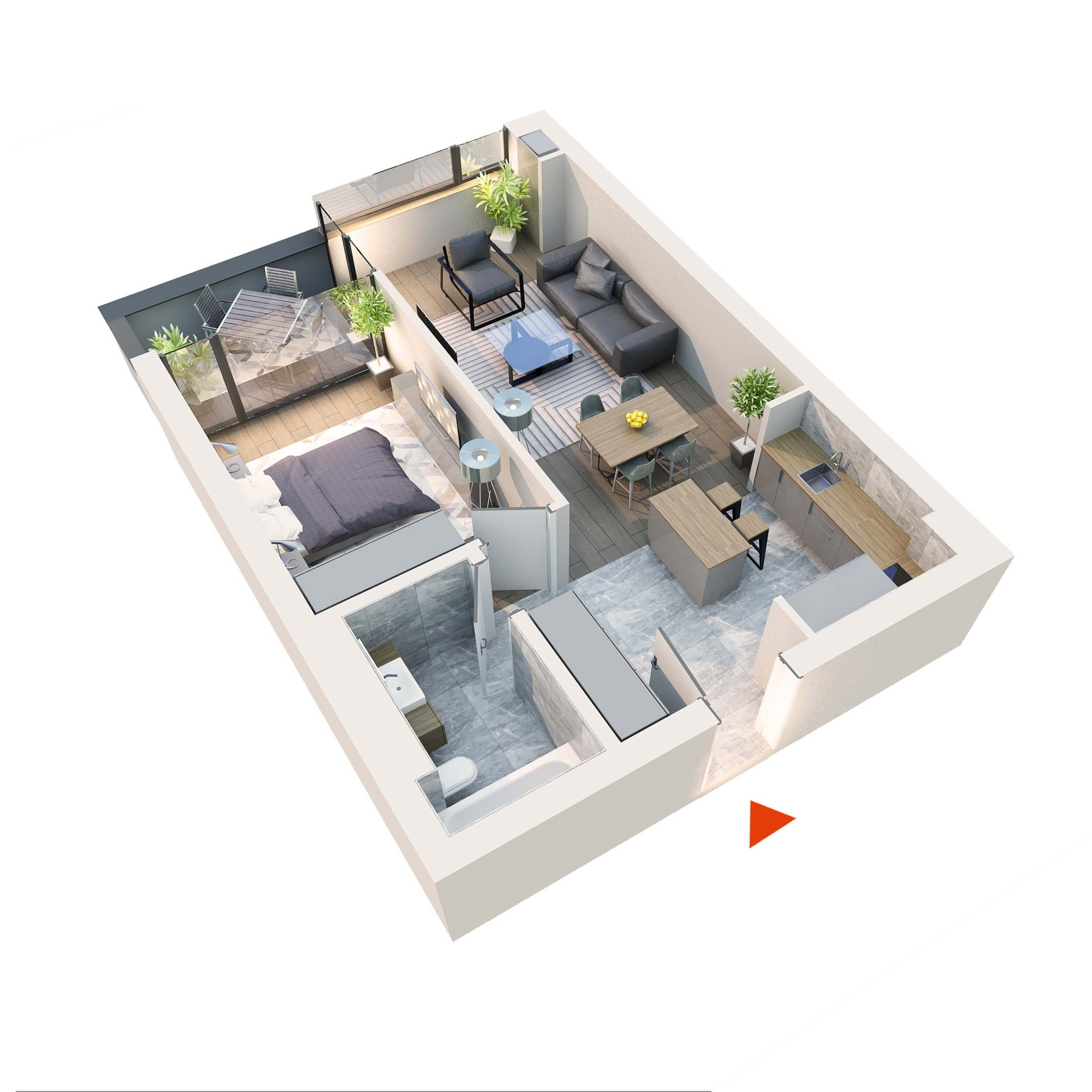 "Apartament 2 camere tip 2D1""' B12 Logie | Etaj 1-3 | Corp C8 | Faza 2"