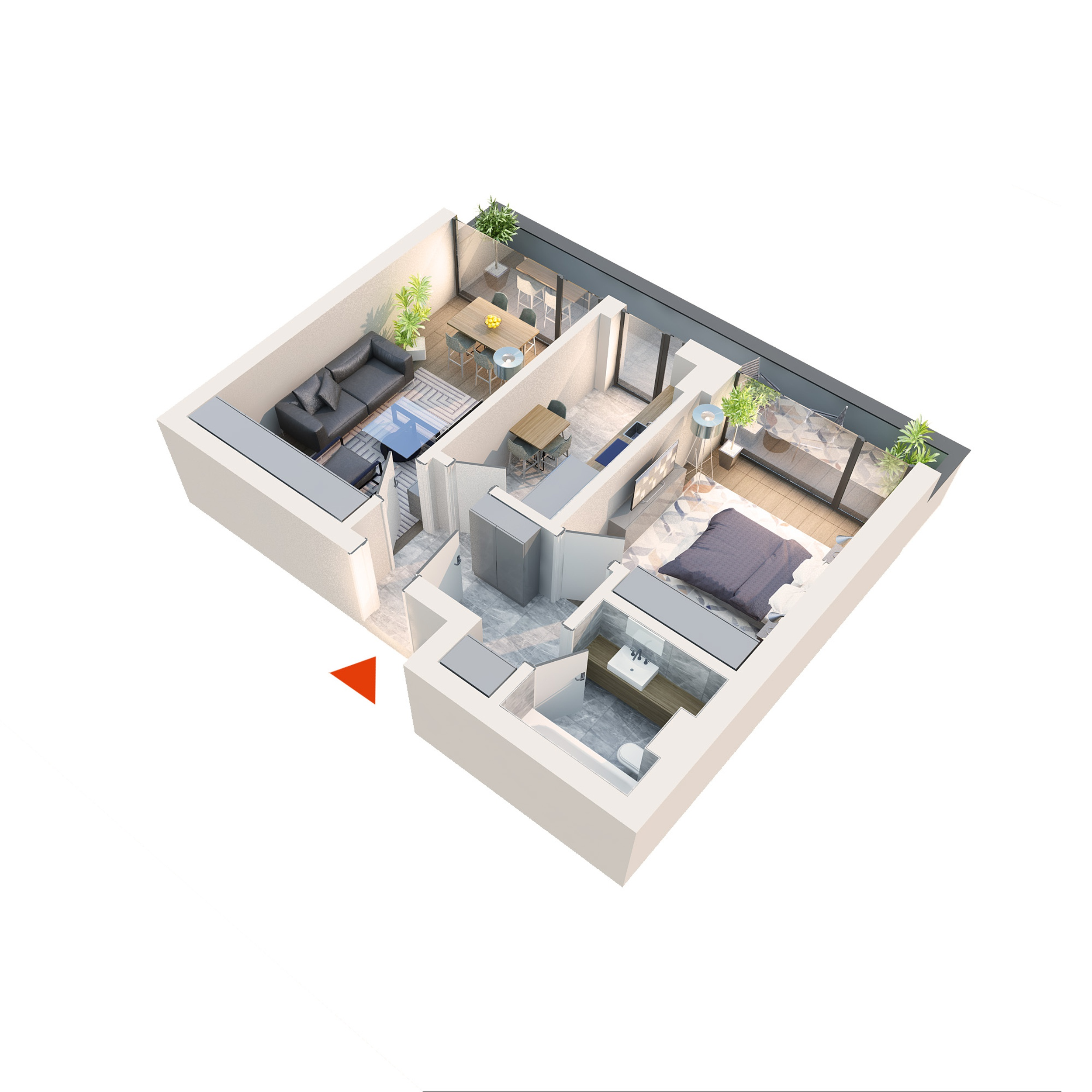 Apartament 2 camere tip 2C3 Balcon | Etaj 4 | Corp C1, C2, C5, C6 | Faza 2