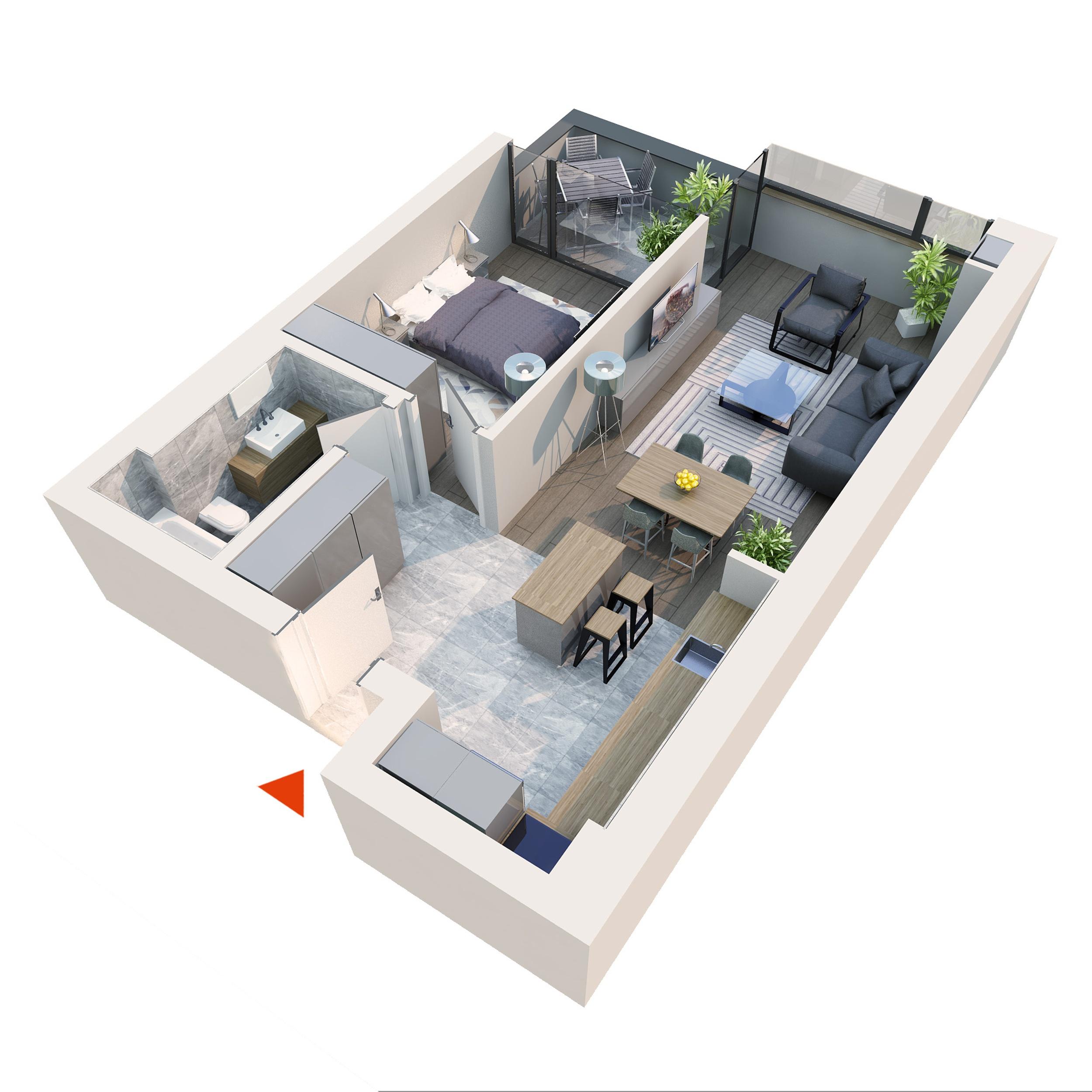 Apartament 2 camere tip 2D2 B12 Logie | Etaj 1-5 | Corp C7 | Faza 2