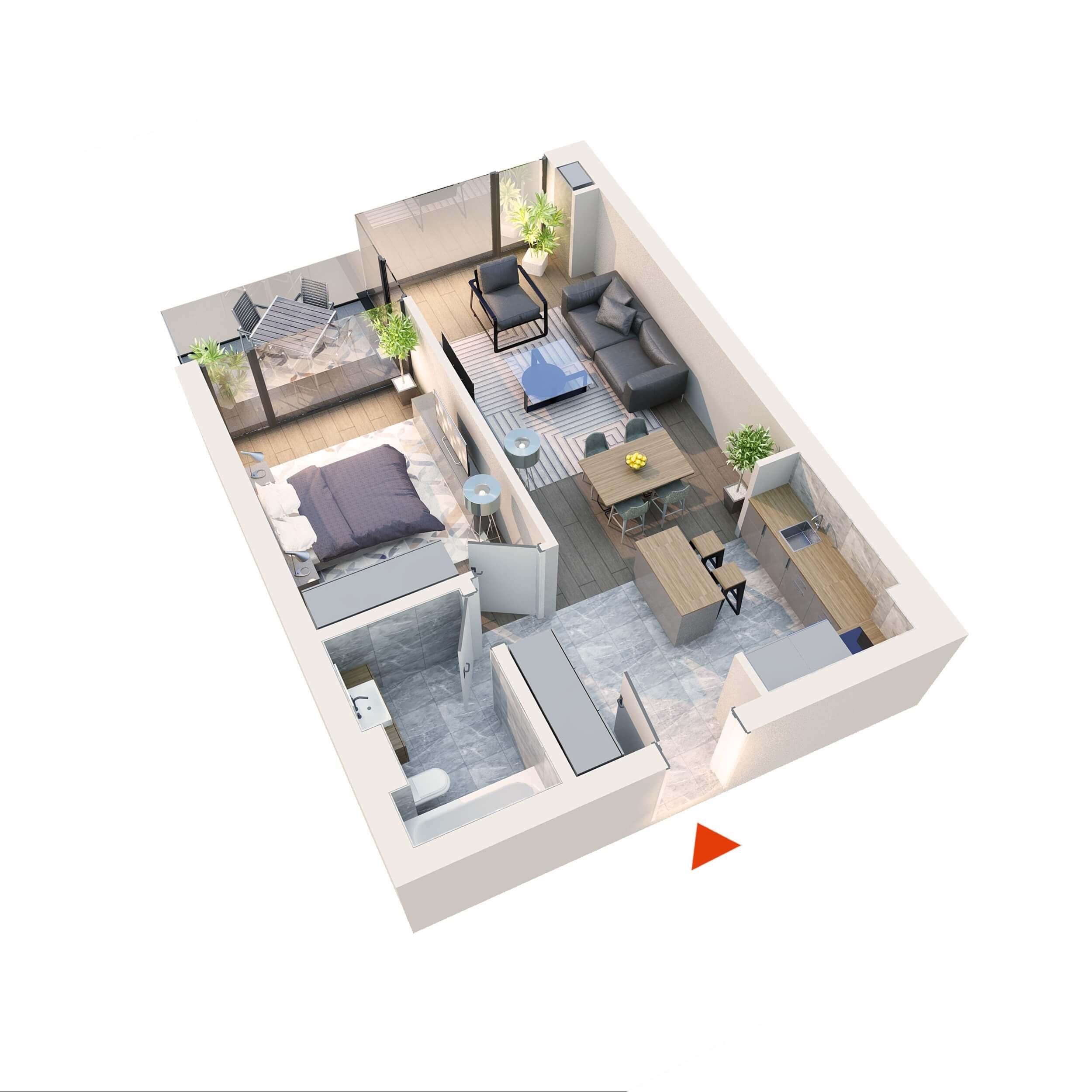 "Apartament 2 camere tip 2D1""' B13 Logie | Etaj 1-4 | Corp C8 | Faza 2"
