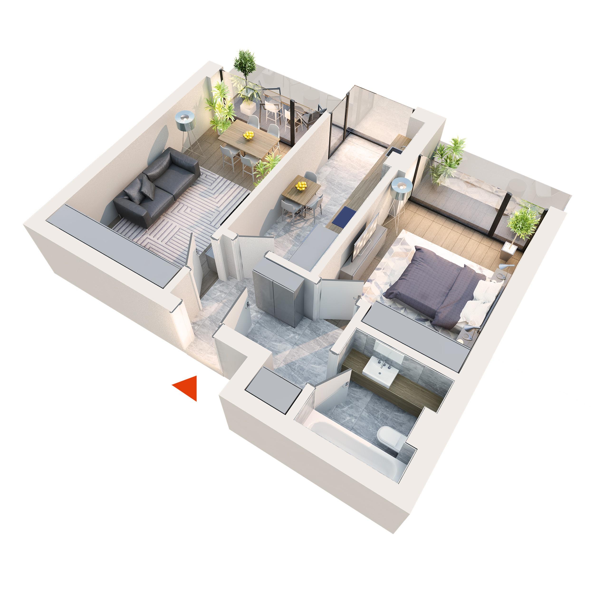 Apartament 2 camere tip 2B6 | 2 Logii | Etaj 1-3 | Corp C1, C2, C5, C6 | Faza 2