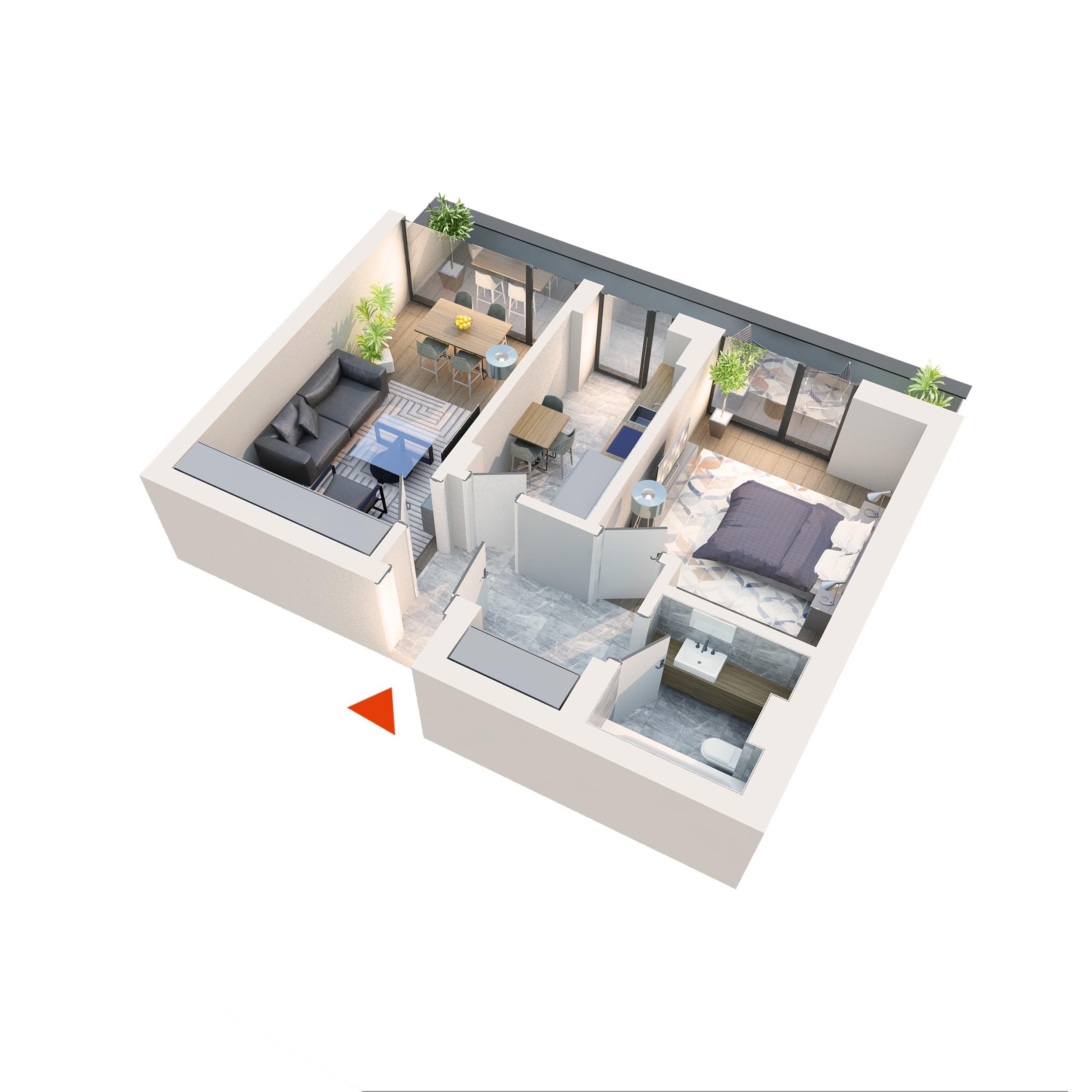 Apartament 2 camere tip 2C3′ Balcon | Etaj 4 | Corp C1-C6 | Faza 2