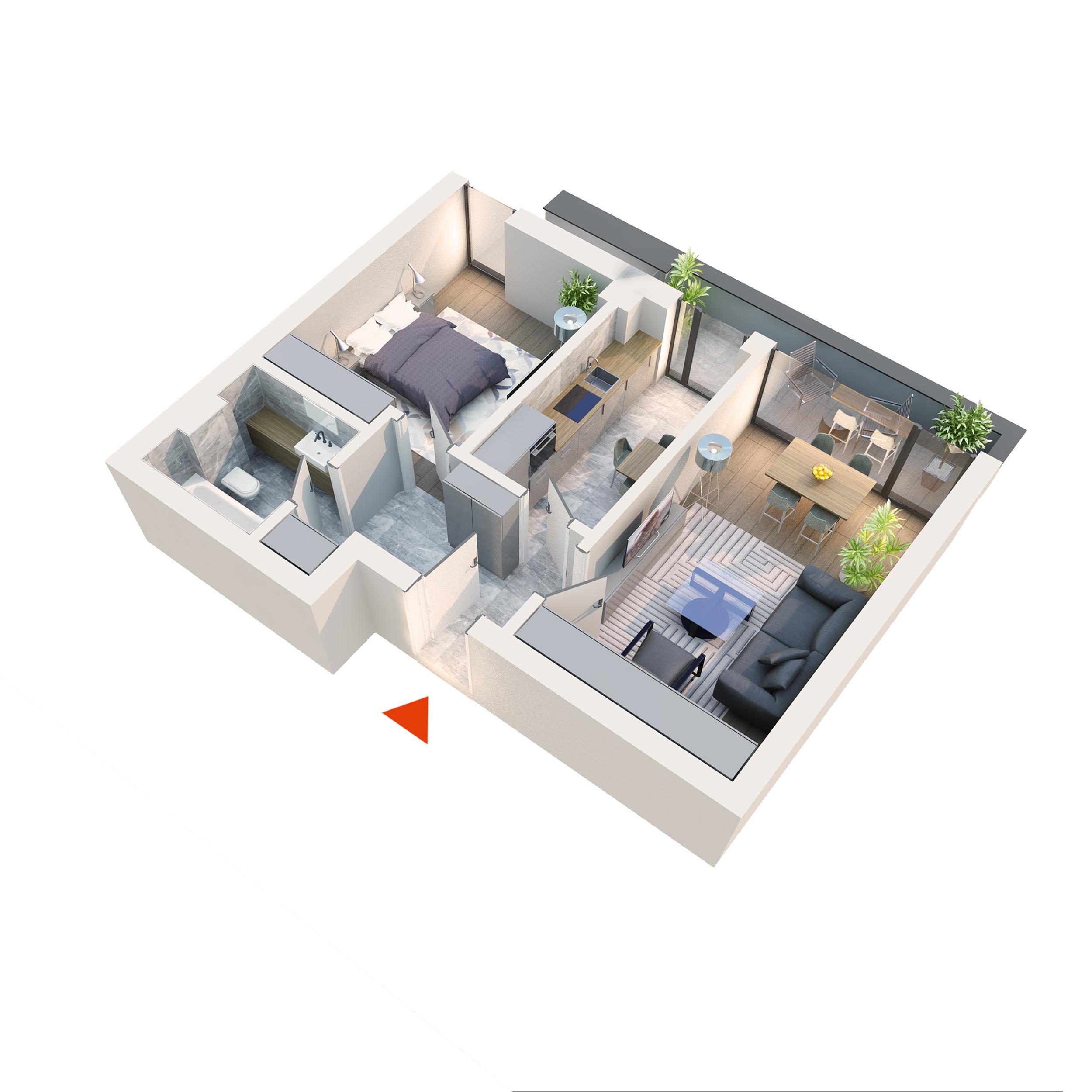 Apartament 2 camere tip 2C2 Balcon | Etaj 4 | Corp C1-C6 | Faza 2
