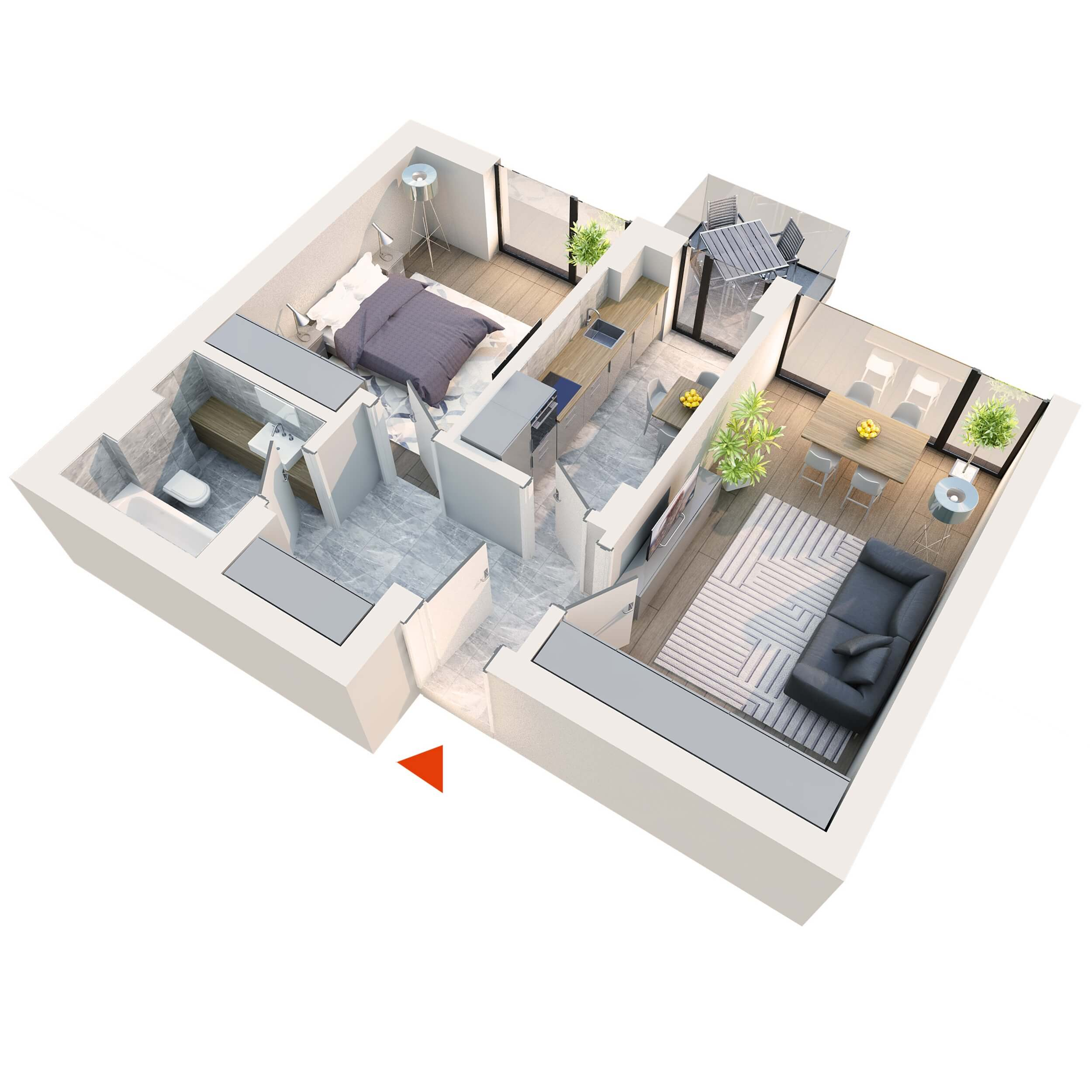 Apartament 2 camere tip 2B4′ Balcon | Etaj 1-3 | Corp C1, C6 | Faza 2