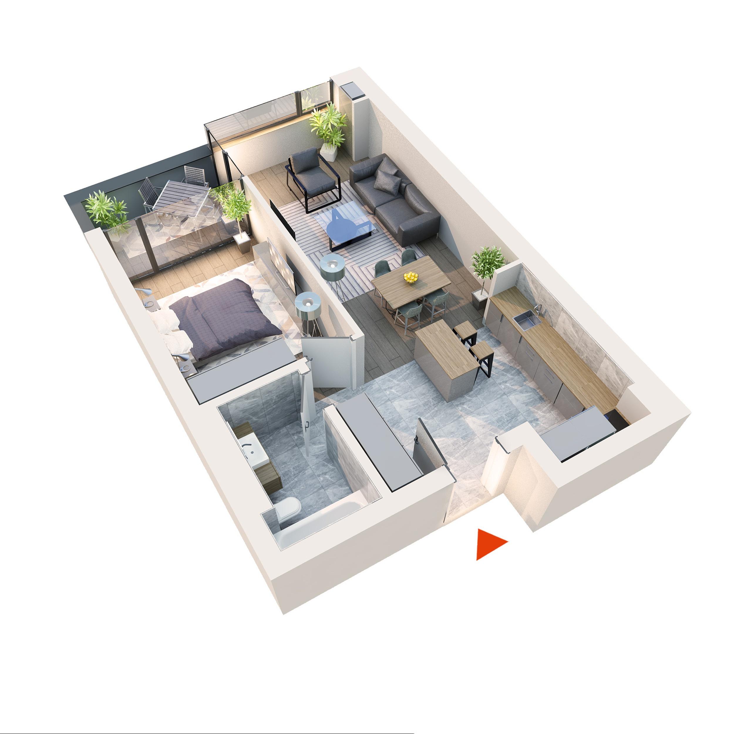 Apartament 2 camere tip 2D2.1 B12 Logie | Etaj 1-5 | Corp C8 | Faza 2