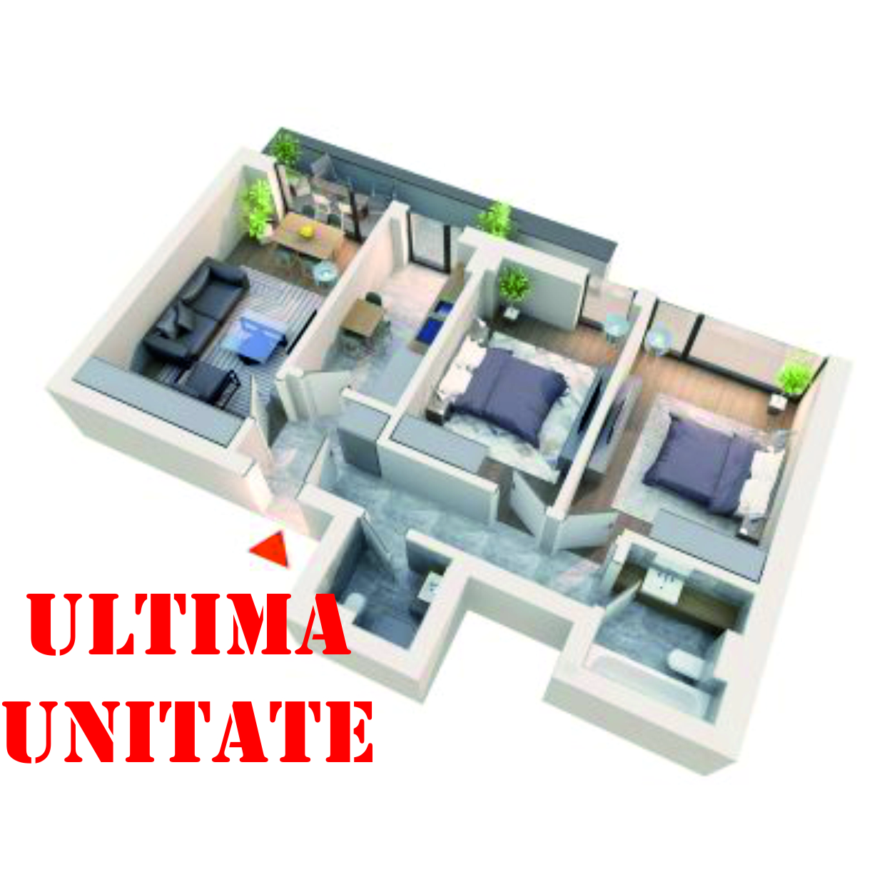 Apartament 3 camere tip 3C2 | Balcon | Etaj 4 | Corp C2 C5 | Faza 2