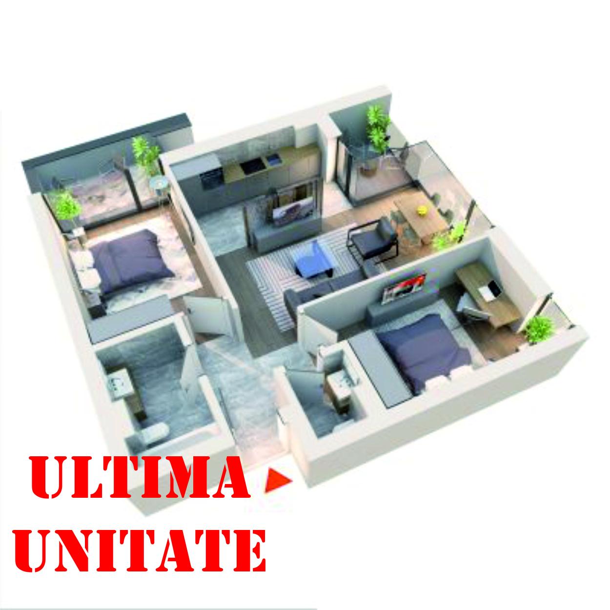 Apartament 3 camere tip 3F1 | 2 Balcoane | Etaj 4 si 6 | Corp C7 C8 | Faza 2