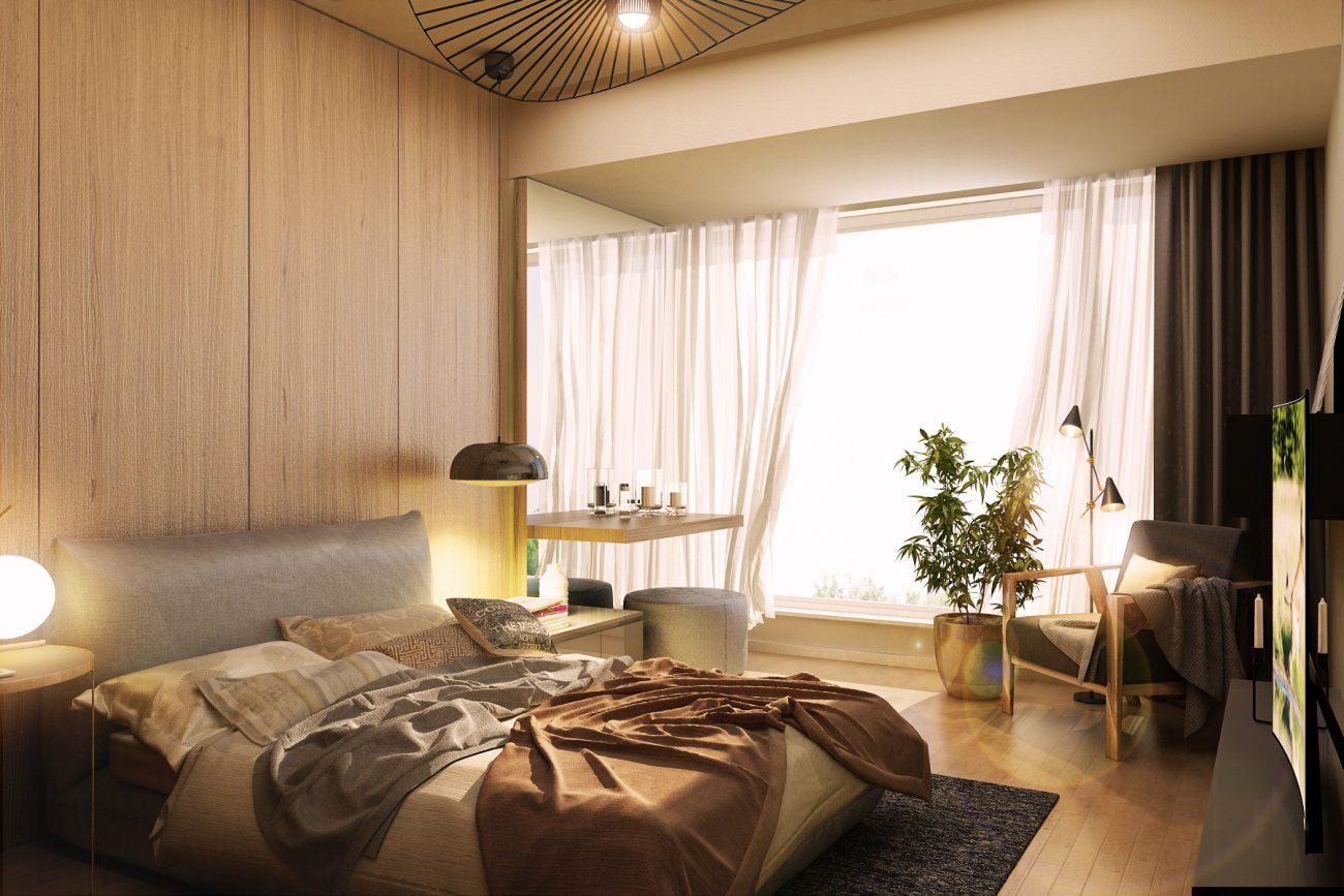 Dormitor cu lumină caldă