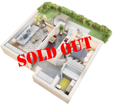 Apartament 2 camere tip 2C.1.1 cu terasa si gradina | parter | Cladire 1A