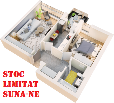 Apartament 2 camere tip 2B.3 balcon | etaj 4 | Cladire 1A