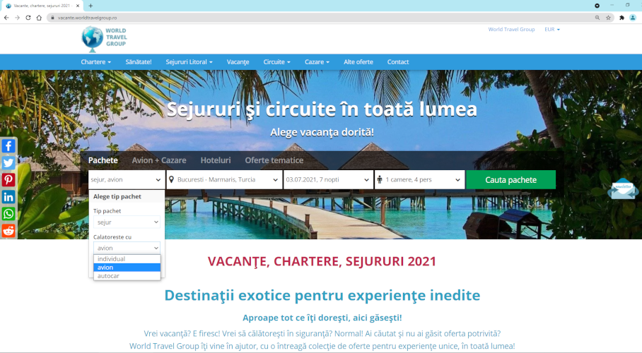 World travel group vacante sejururi chartere